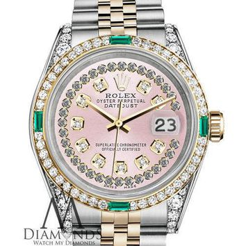 Ladies Rolex Steel & Gold 36mm Datejust Watch Pink String Emerald Diamond Dial