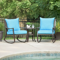 Blue Barclay Brown Wicker Rocker & Table, Set of 3