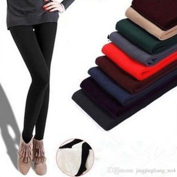 Fleece Leggings Warm Winter Faux Velvet lined Legging Knitted Thick Slim Leggings Tights Elastic pantyhose Feet Leggings KKA2870