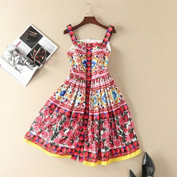 New 2017 spring summer runway brand rose patterns print women casual dress spaghetti strap cute buttons fit and flare dresses