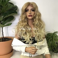 Ombre Blond Human Hair Blend Free Style 14x4 Deep Part Silk base Swiss Lace Front Wig -  Hannah 111720