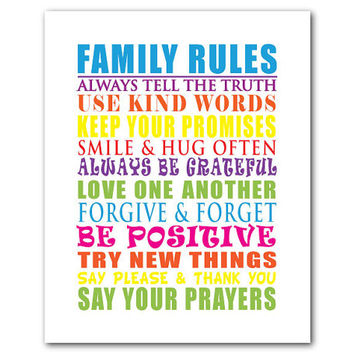 Wall Art - Family Rules - Playroom Art - Nursery Art - Kids Art - Typography Word Art - Radiant Orchid - Multi colors - customizable