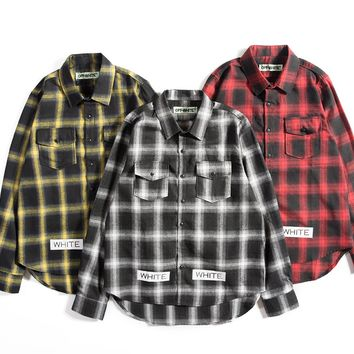 OFF WHITE 2018 new stripe speed bumper plaid box men and women long-sleeved shirt