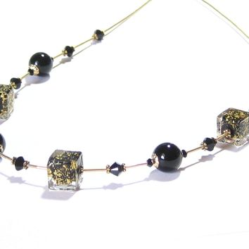 Murano Glass Black Cube Beaded Gold Necklace, Venetian Jewelry