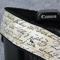 Camera Strap, Vintage Script, French Script, Camera Neck Strap, Pocket, dSLR, SLR, Canon camera strap, Nikon camera strap, 8 ww