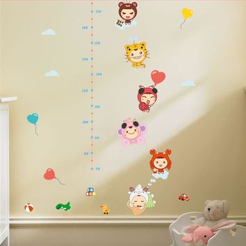 * cartoon animals dress up clothes height stickers growth wall sticker removable kids rooms bedroom diy birthday gift poster