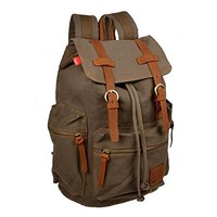Ibagbar Men's Vintage Canvas Shoulders Backpack Bag Gray