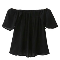 Black Off Shoulder Ruffle Sleeve Wrap Back Blouse