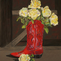 Fine Art Giclee Print, Red Boot, Yellow Roses, Pastel Painting, Western Theme