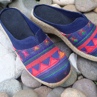Tribal Womens Shoes Blue Ethnic Akha Embroidered Vegan Slip On Slides Clogs
