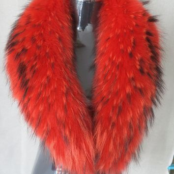 Genuine whole skin   Raccoon fur collar / fur scarf/ orange red collar hot sale 90*15cm