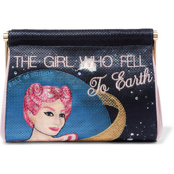 Charlotte Olympia - The Girl Who Fell To Earth Maggie embroidered crepe de chine clutch