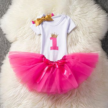 Summer Baptism Baby Girl Dress Wedding 1 Year Birthday Baby Newborn Girls Kids Short Sleeve Dresses Princess Tutu Infant Clothes