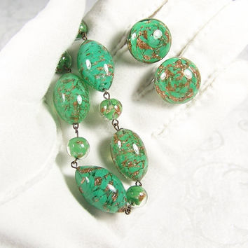 Murano Glass Necklace Clip Earrings Set Italy Vintage