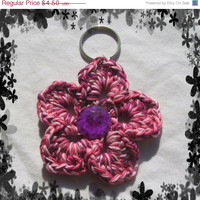 Holiday Special Pink & Purple Flower with Jewel in the Center Key Chain Handmade and Ready to Ship