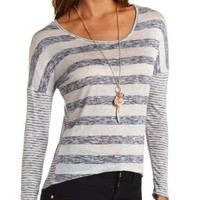Mixed Striped Long Sleeve High-Low Top - Navy Combo