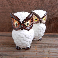 Owl Salt & Pepper Shakers - Vintage Ceramic Brown and White Owls / Hooters