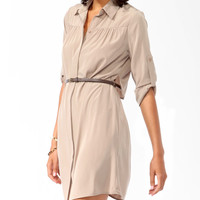 Flounced Back Shirtdress w/ Belt