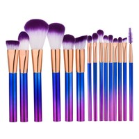 15pcs/set Purple Blue Professional Makeup Brushes