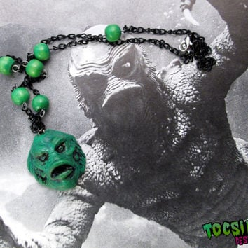 Creature from the Black Lagoon necklace - universal monster inspired - universal horror jewelry - psychobilly - classic horror  movie