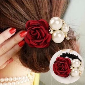 New Flocking Cloth Red Rose Flower Hair Clip Hairpin Headdress Hair Accessories Wedding jewelry For women 7colors Free