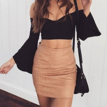 New Fashion PU leather bag hip skirts of cultivate one's morality