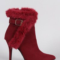 Anne Michelle Buckle Faux Fur Collar Pointy Toe Stiletto Ankle Boots