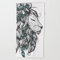 Poetic Lion Turquoise Beach Towel by LouJah