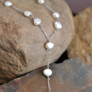 Sterling Silver and Freshwater Pearl Beaded Necklace