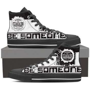 "Men's Black High Top ""Be Someone"" Shoes"
