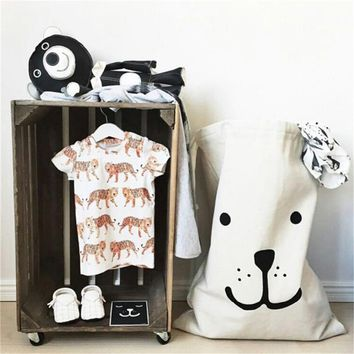 Large Cartoon Cotton Linen Storage Bag Canvas Basket Children Room Organizer Bag Patterns Laundry Pouch for Baby Toy Clothings