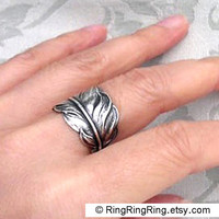 Dark Feather ring in adjustable antiqued silver by by RingRingRing