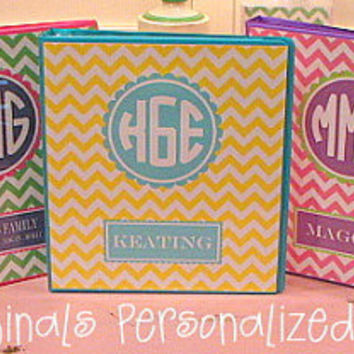 "Personalized 1"" Chevron Binders"