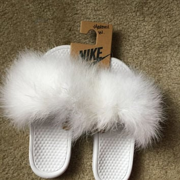 ed53418a3bcaf Furry Nike Slides from FancyFurByMuff on Etsy