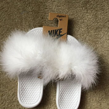 Furry Nike Slides