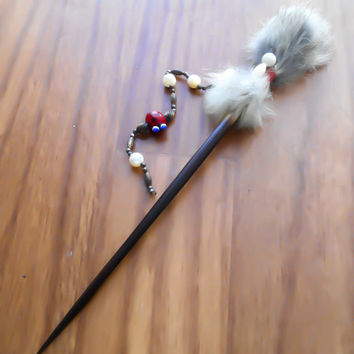 Hair Stick, Antique Hair Stick, Hairsticks, Possum Hair Stick, Fur Hairstick, beaded hair stick, hair accessory, tribal hair accessory