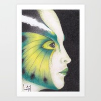 Butterfly Girl #3 Art Print by Drawings By LAM