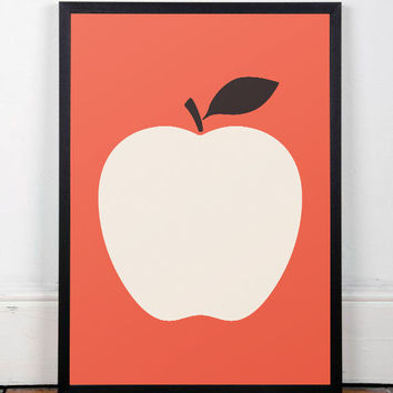 Kitchen poster, Kitchen art, Nursery print, Modern art print, Wall art, Wall print, Fruits poster, Red poster, Home decor, Minimalist, A3
