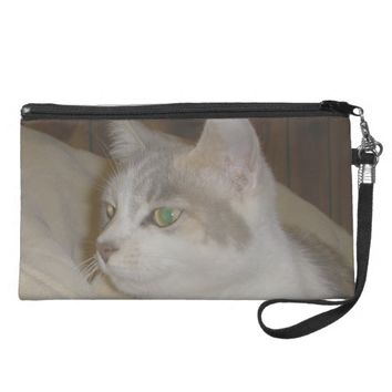 Green Eyed Kitty Wristlet Clutch