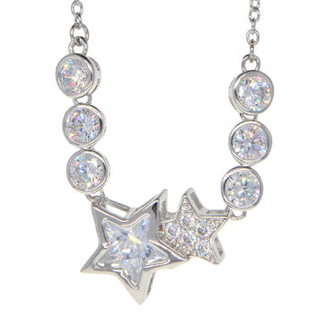 Dear Deer White Gold Plated Shooting Stars Miracle CZ Pendant Necklace