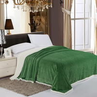 Simple Elegance Luxurious Reversible Sherpa Lining Carved Velboa Blanket - King (Garden Green)