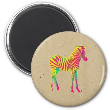 Neon Zebra Baby Animal Psychedelic Cute Funky 2 Inch Round Magnet