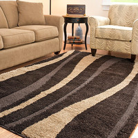Hand-Woven Ultimate Dark Brown/Cream Shag Rug - Contemporary - Rugs - by Overstock.com