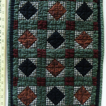 Vintage Doll Quilt, or Wall Quilt, Handmade, Hand Quilted, Pieced Patchwork, 14 x 18 inches , Green Black Brown, Doll Bed Quilt