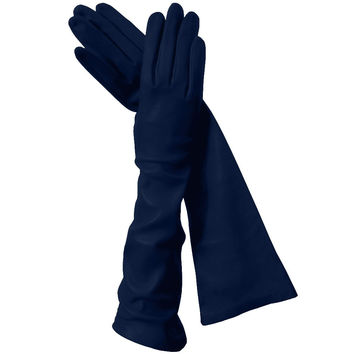 Navy Blue Long Italian Leather Gloves, Elegant, Classy Silk-lined 8-button