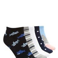 Shark Print Ankle Sock - 5 Pack
