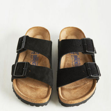 Strappy Camper Sandal in Black Suede - Narrow | Mod Retro Vintage Sandals | ModCloth.com