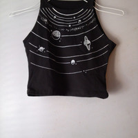 solar system crop top white print on black cotton/spandex crop tank yoga wear soft work out active wear form fitting