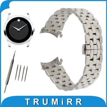18mm 20mm 22mm 24mm Stainless Steel Watch Band Curved End Strap + Tool for Movado Watchband Butterfly Buckle Wrist Belt Bracelet