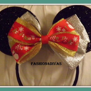 Christmas  Mouse Ears, Black Minnie Mouse Ears, Mickey Mouse Ears, Disneyland, Disney World, Holiday Mouse Ears